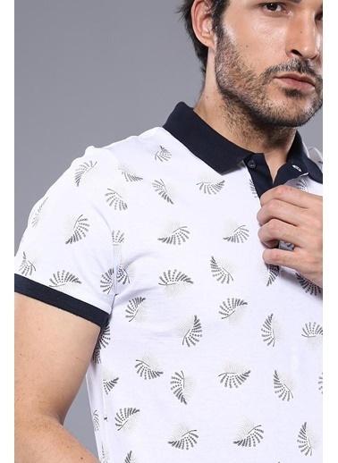 Wessi Erkek Çiçek Desenli Polo Yaka Slim Fit Tişört Beyaz